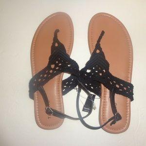 Torrid Sandals 11 12 Wide Macrame/Crochet Flats